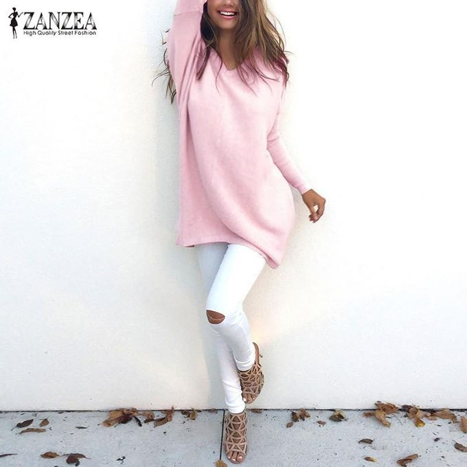 ZANZEA ZANZEA Casual Blusas Women Knitted Sweater Loose Pullovers Tops  Female V-Neck Long Sleeve Thin Knitwear Plus Size Tops (Pink) 966af159e