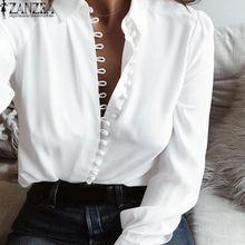 f8a66943a24 ZANZEA Women Long Sleeve Buttons Down Low Cut Casual Blouse Shirt Tops Plus  SizeWhite