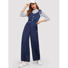 d53b19a9bb5d Self Tie Shoulder Button Front Palazzo Jumpsuit