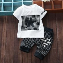 3138312d29f41 Tectores 2Pcs Infant Kid Boys Girl Letter Star Print Plaid Tops+Pants  Outfits Clothes Set
