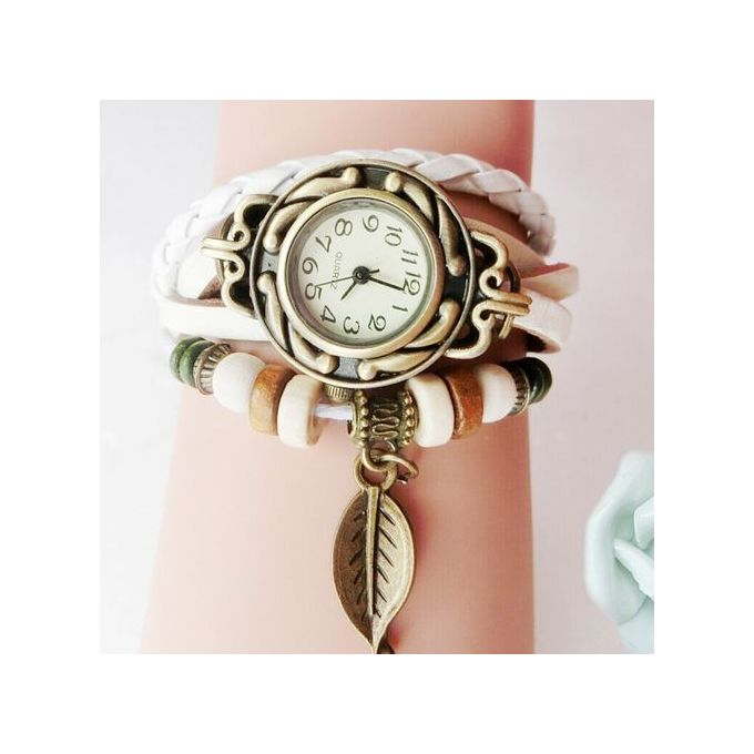 Watch Women Bracelet Fashion New Casual Women Children Retro Leatherwinding Bracelet Leaf Pendant Watch Watches