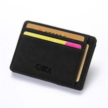 77cec55ba97f5 Men Slim Billfold Wallet PU Leather Credit Card Holder Coin Money Clip Zip  Bag Black