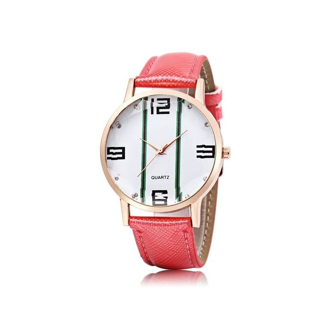 Female Quartz Watch Stripe Pattern Dial Stereo Glass Mirror PU Band Wristwatch –  مصر