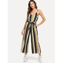 4860cfe78307 V Neckline Tie Side Striped Jumpsuit