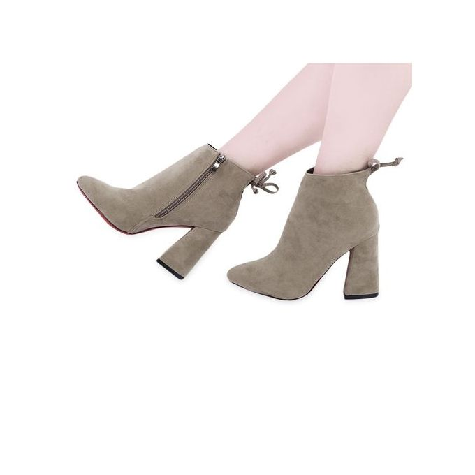 Bowknot Ladies High Heel Boots - Khaki