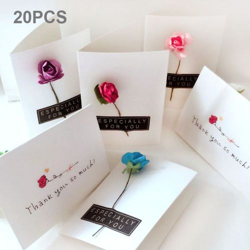 Universal 20 PCS Festival Creative DIY Rose Dry Flower Greeting Blessings Card Message