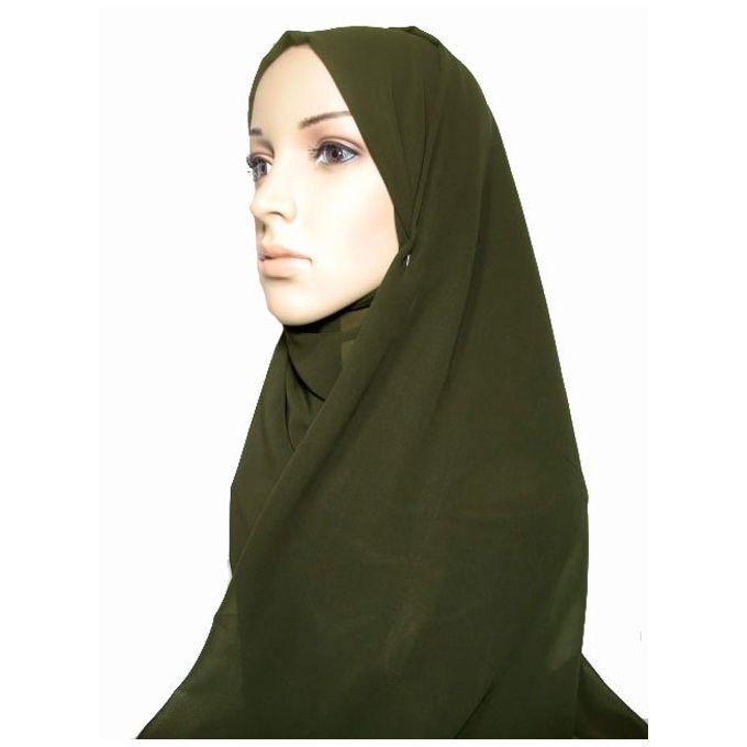حجاب من الشيفون - 70 × 175 سم - زيتوني