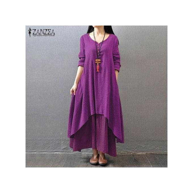 0a5d3eb9af ZANZEA Women Boho Long Maxi Dress Casual Solid Cotton Linen Vestidos Plus  Size Elegant Loose Full