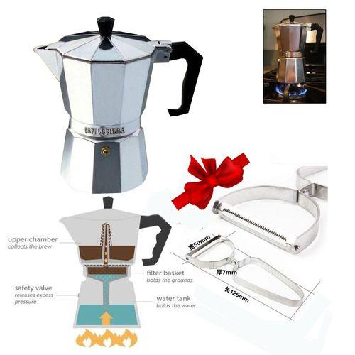 Espresso Coffee Maker - 3 Cups + Free Gift