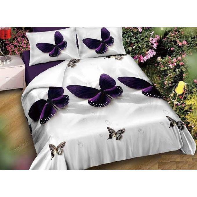 Butterfly Bedlinen Set – 5 Pcs – Purple & White –  مصر