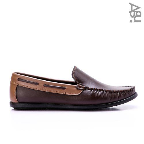 حذاء جلد سهل الارتداء - بني وكافيه