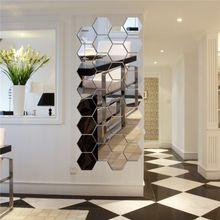 57d4aaf1f 12Pcs Acrylic 3D Hexagon Mirror Wall Stickers Removable Decal Home Art  Decor DIY