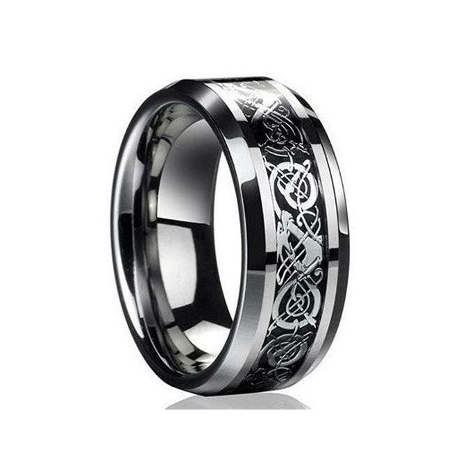 Fashion Men S Women Punk Celtic Dragon Anium Steel Wedding Band Ring Jewelry