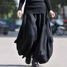 a89359d750613 ZANZEA Solid Long Wide Leg Loose Baggy Cargo Pants Trousers Women Cotton  Linen High Elastic Waist