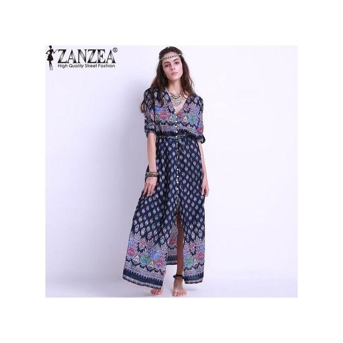 d3e756ee20b3 ZANZEA Women Floral Print Maxi Long Dress Boho Elegant Half Short Sleeve  Button Front V Neck