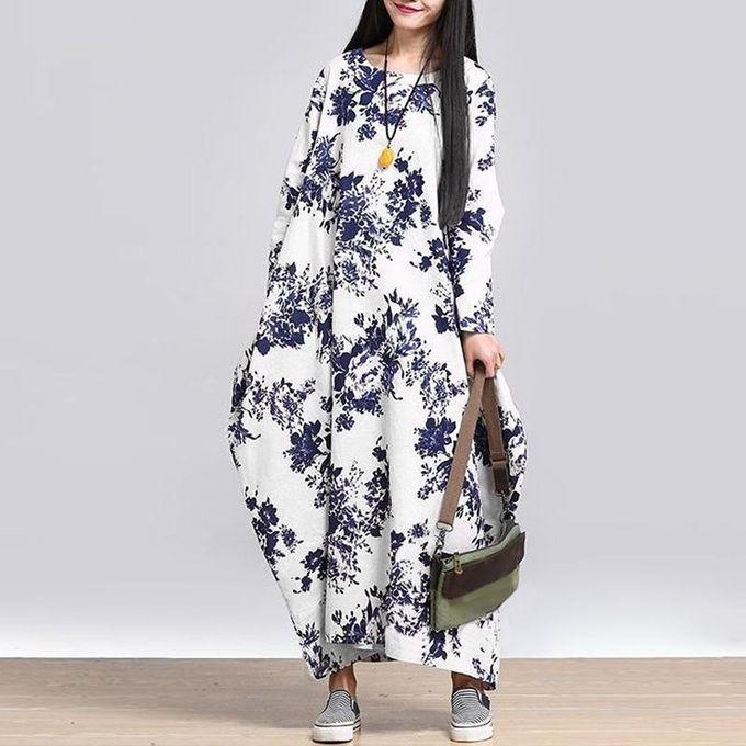 aa5099714e ZANZEA Oversized Womens Cotton Linen Floral Long Sleeves Casual Long Maxi  Dress Kaftan