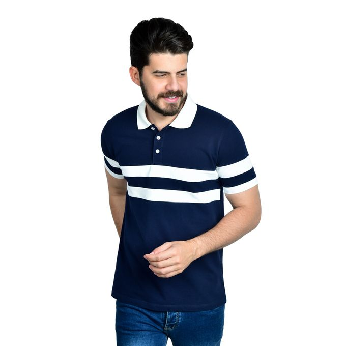 52e1b65d7 Sale on Chest Striped Polo Shirt - Navy