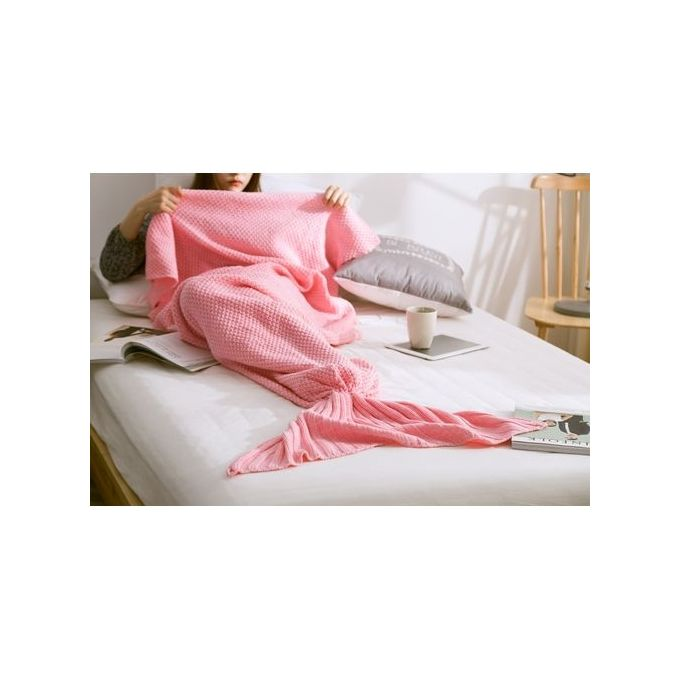 Soft Warm Knit Mermaid Tail Blanket Sleeping Bag For Adult 80*180cm Color:Pink –  مصر