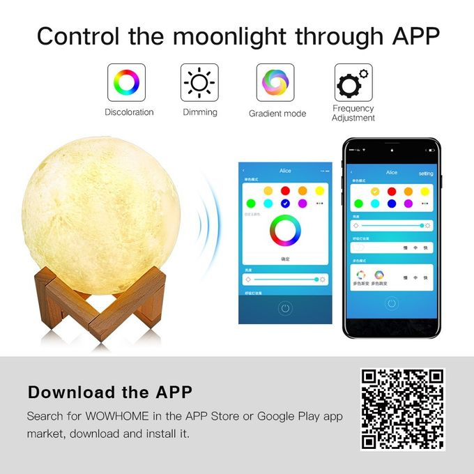 16cm 3D Print Mobile APP Control Smart Moon Lamp Energy-saving LED Night  Light With Wooden Holder Base, Support Alexa & Tmall Elf