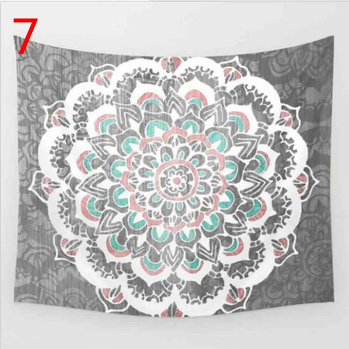 Indian Decor Mandala Tapestry Wall Hanging Hippie Throw Bohemian Dorm Bedspread Table Cloth Curtain Style Gray Big Flower –  مصر