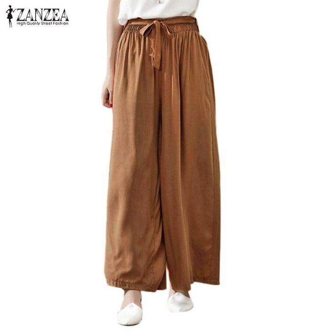 0fe50ccda49b ZANZEA Summer Women Casual Loose Wide Leg Pants Elastic Waist Trousers  Casual Cotton Long Pants (
