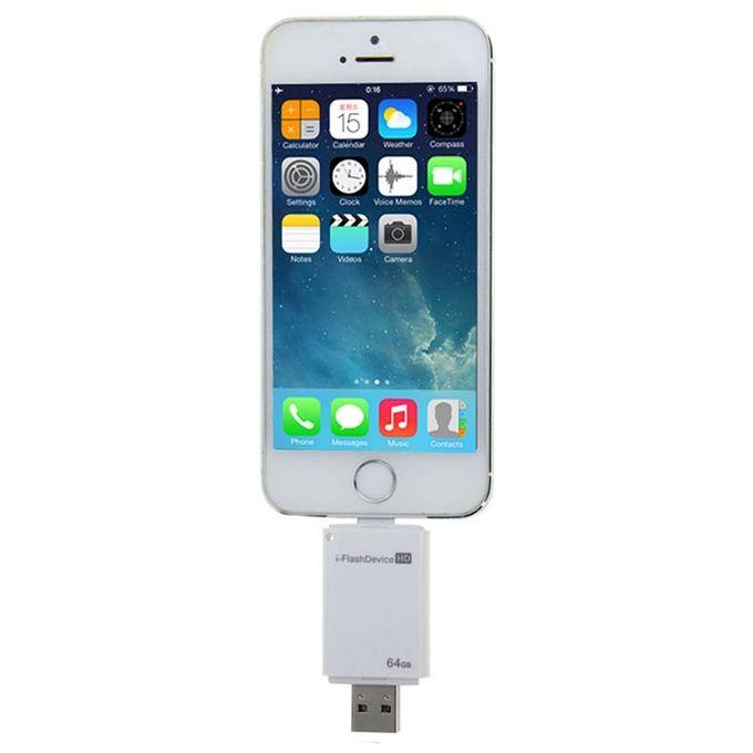 64GB I-Flash Driver HD U Disk USB Drive Memory Stick, For IPhone / IPad /  IPod Touch(White)