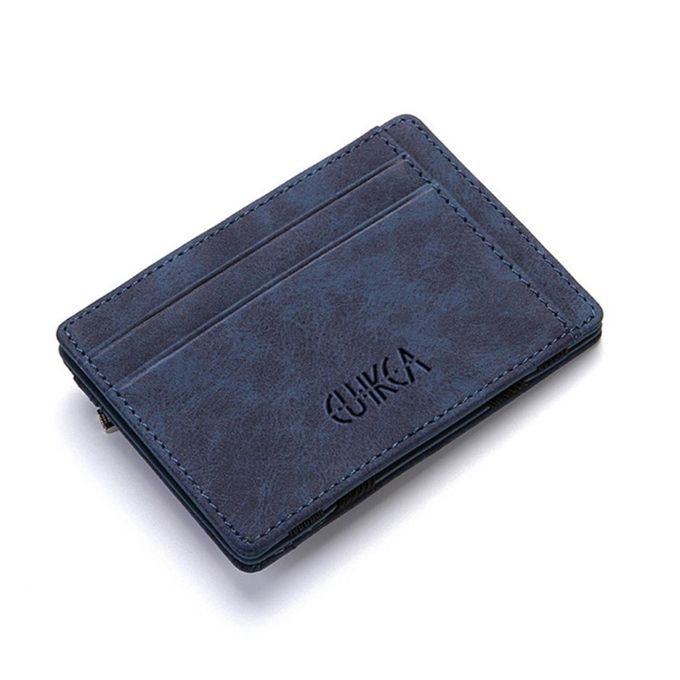b17458cd5a91 Men Slim Billfold Wallet PU Leather Credit Card Holder Coin Money Clip Zip  Bag Blue