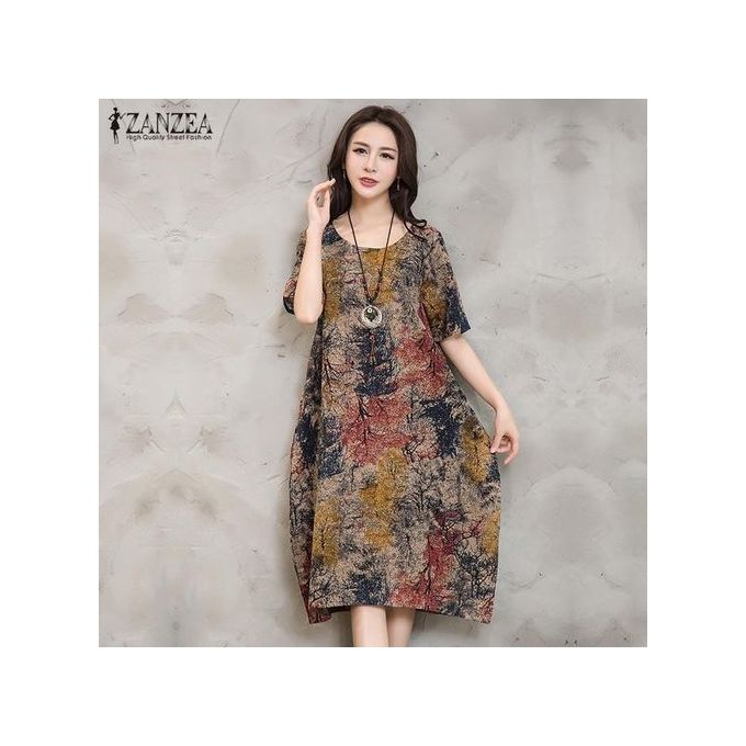 ZANZEA Women Dress Loose Vintage Retro Floral Print Short Sleeve Baggy Long  Robe Red 9baa86a89