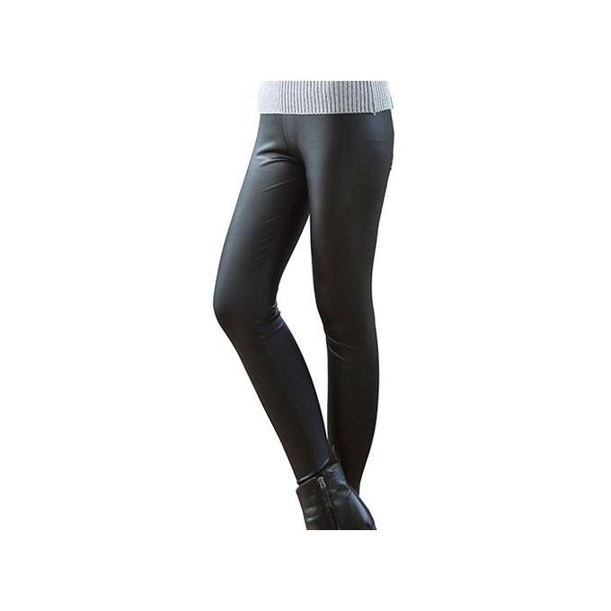 85fe79aa3f9628 ... Women Sexy Shiny Metallic Brushed High Waist Pants Black Stretchy Faux Leather  Leggings Plus Size ...