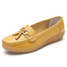7bbddce9cab Women  039 s Leather Loafers Flats Casual Round Toe Moccasins Wild  Breathable Driving Shoes