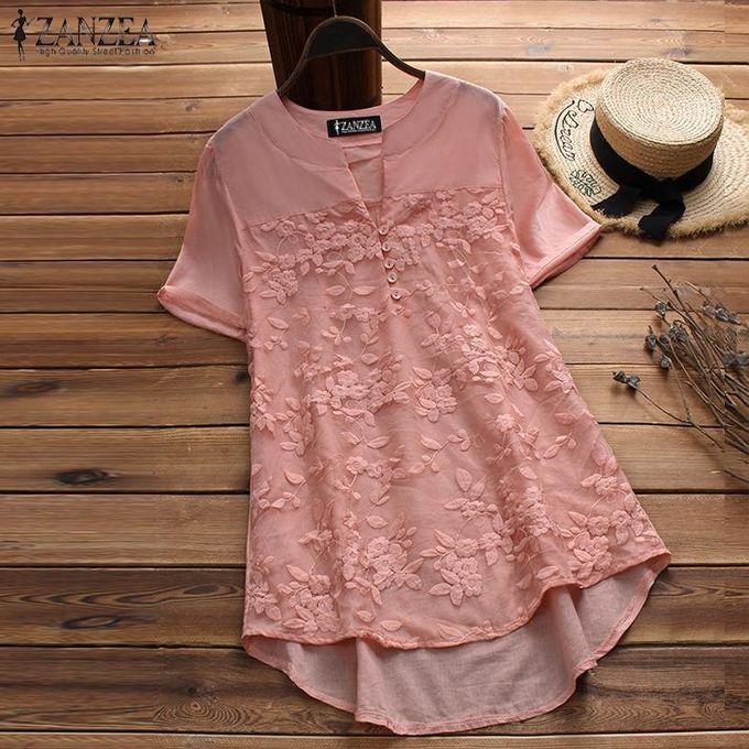 68b725271d14 ZANZEA Women Plus Size Floral Top Tee T Shirt V Neck Flare Basic Solid  Tunic Blouse