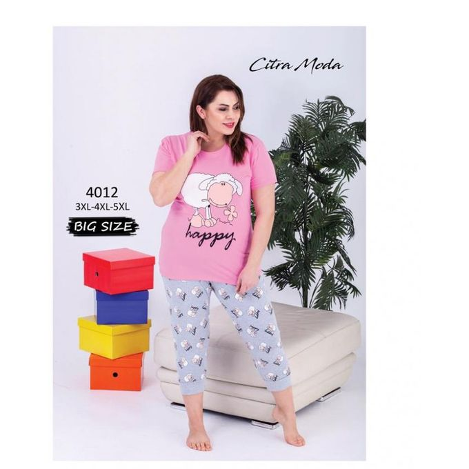 17082f8831a0 Sale on Women Summer Cotton Pyjamas Sizes Up To 5XL - Pink