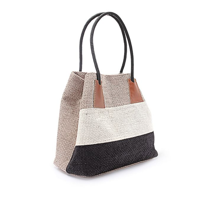 Striped Shopper Bag - Black, Beige & Off White