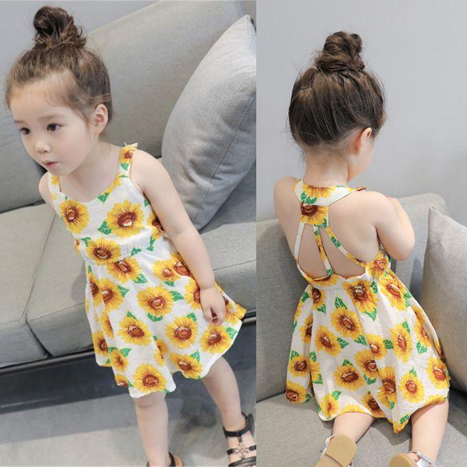 c9c13b7d2 Summer Flower Girl Dress Sunflower Print Sleeveless Backless Floral Dress  Clothes Princess Dress Beach Dress Girls