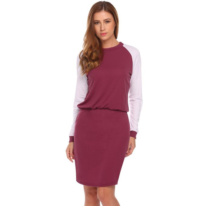d66463702b15 Women Slim Fit Long Sleeve Contrast Color Bodycon Pencil Sweatshirt Dress-Wine  Red