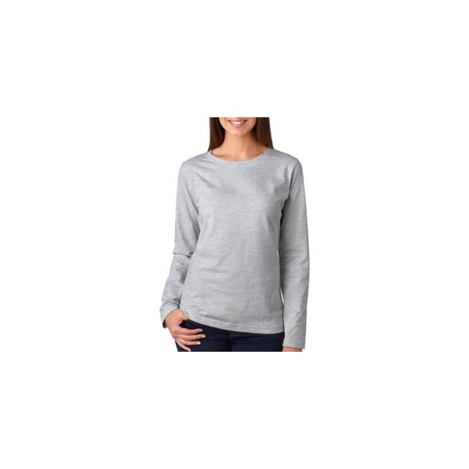 3588 Womens Long Sleeve Premium Jersey Tee [Heather, X-Large]