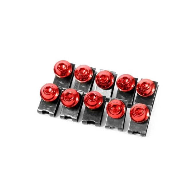 10x M5 Motorcycle Fairing Body Bolt Kit Screw Speed Fastener Clip Nut Red