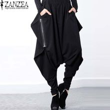 9561d58ea99 ZANZEA Women Elastic Waist Zip Baggy Drop-Crotch Gothic Trousers Pockets  Irregular Hem Long Cross
