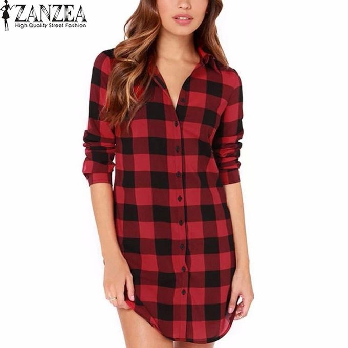 50ee46cde Oversized Autumn ZANZEA Women Retro Plaid Shirts Casual Loose Lapel Long  Sleeve Buttons Blouses Tops Long