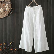 7ba7e0498 ZANZEA Women High Elastic Waist Long Harem Pants Casual Plain Wide Legs  Trousers Plus