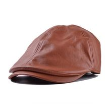4a5b83593db63 Meibaol Store Mens Women Vintage Leather Beret Cap Peaked Hat Newsboy  Sunscreen BW
