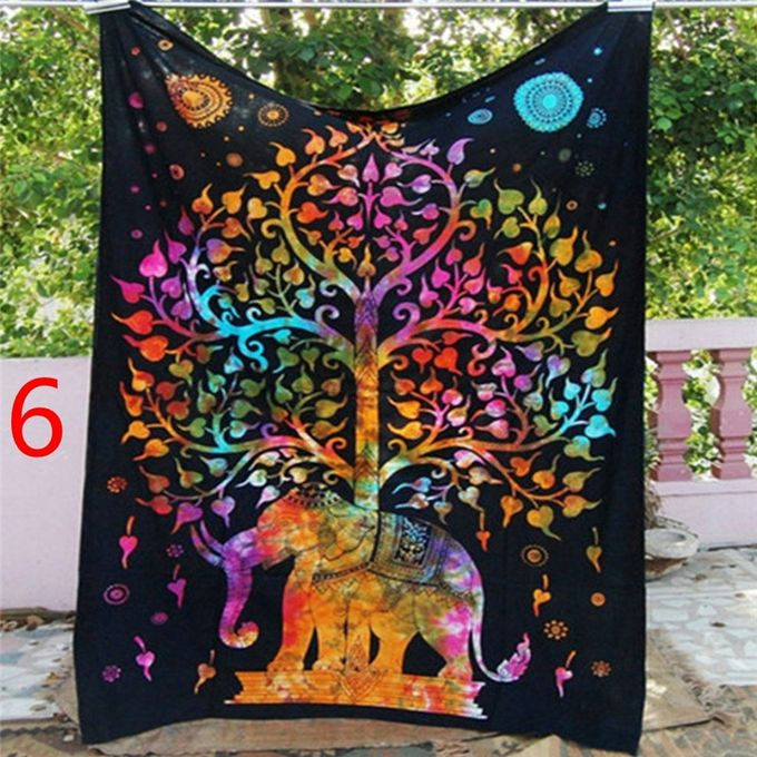 Indian Decor Mandala Tapestry Wall Hanging Hippie Throw Bohemian Dorm Bedspread Table Cloth Curtain Style Orange Elephant Tree –  مصر