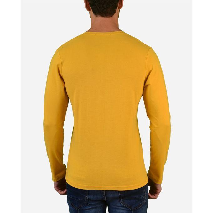 Plain v neck long sleeves t shirt yellow for Plain yellow long sleeve t shirt