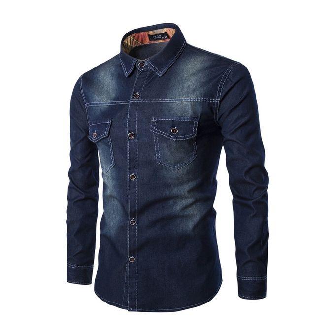 c243ea9d New Super Size Men's Denim Shirt Chest Double Pocket Slim Long Sleeve Shirt- black