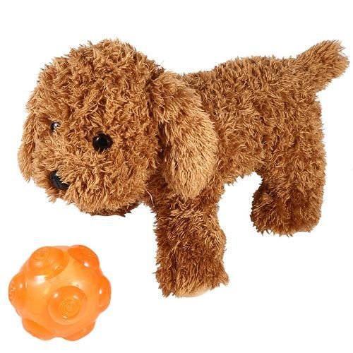 Flexible Pet Dog Puppy Squeaked Interactive Training Playing Throwing Ball Toy(Orange)