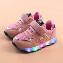 f803d47f5bf00 Paidndh Store Toddler Kids Mesh Shoes Children Baby Shoes LED Light Up  Luminous Sneakers- Pink