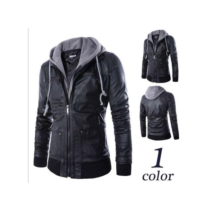 80ce838c6245f Hot Plus Size Detachable Hooded Men Faux Leather Jacket Black Biker  Motorcycle Mens PU Leather Coat
