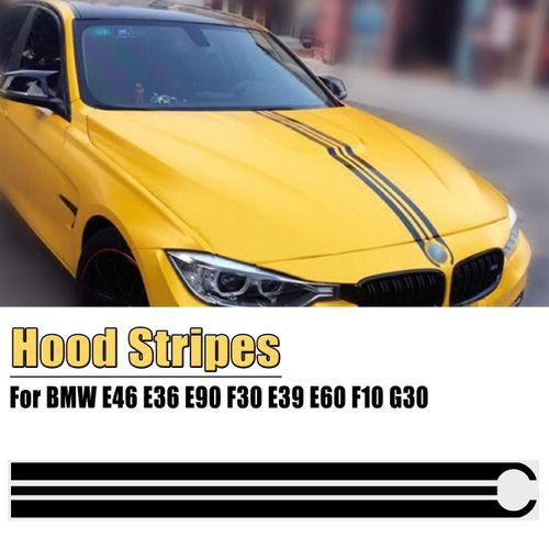 Hood Bonnet Stripes Decals Stickers Trim For Bmw E46 E36 E90 F30 E39 E60 F10 G30 Color Matte Black