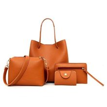 e1da756544640 4pcs Women Leather Handbag Lady Shoulder Bags Tote Purse Messenger Satchel  Set  brown