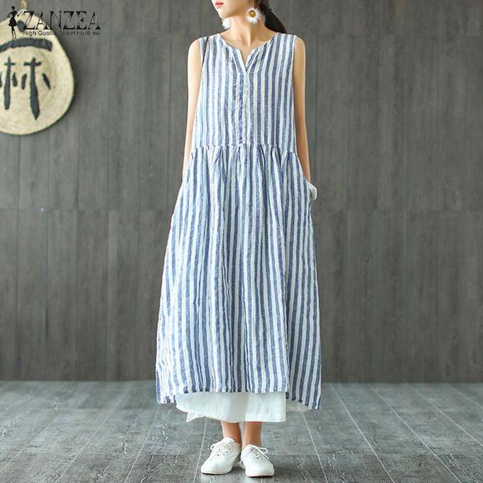 998d2e0dc74 ZANZEA Women Summer Sleeveless Stripe Sundress Beach Party Holiday Plus  Size Maxi Dress